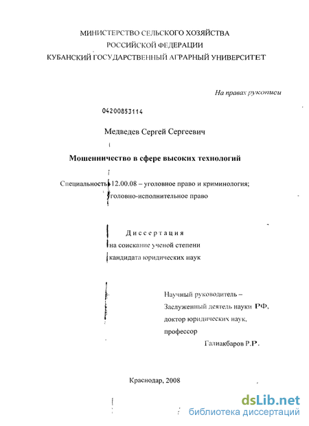 в сфере высоких технологий Мошенничество в сфере высоких технологий Медведев Сергей Сергеевич