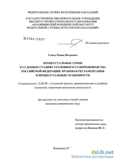 Диссертация сроки в уголовном процессе 3362