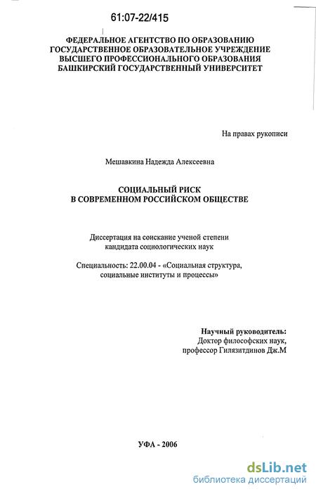 риск в современном российском обществе Социальный риск в современном российском обществе