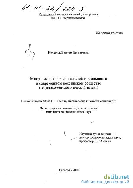 как вид социальной мобильности в современном российском обществе  Миграция как вид социальной мобильности в современном российском обществе Теоретико методологический аспект Немерюк Евгения Евгеньевна