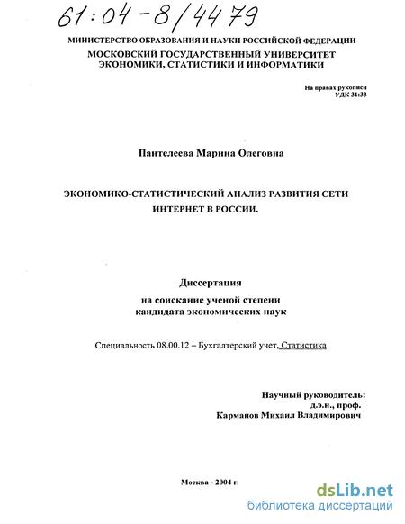 Экономико-статистический анализ развития сети интернет в России тема диссер