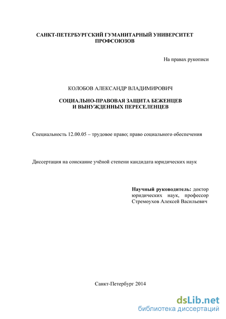 Социальная защита населения диссертация 2014 1319