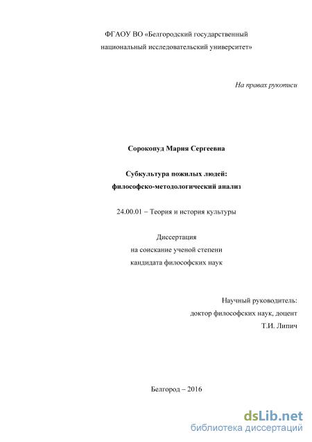 пожилых людей философско методологический анализ Субкультура пожилых людей философско методологический анализ Сорокопуд Мария Сергеевна