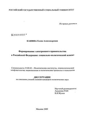 Формирование электронного правительства в Российской Федерации: социально-политический аспект : диссертация...