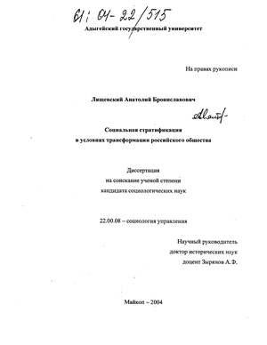 Социальная стратификация в условиях трансформации российского общества : Дис. ... канд. социол. наук.